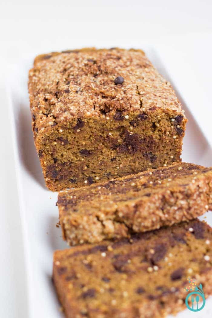 Pumpkin Quinoa Bread with Chocolate Chips via simplyquinoa.com