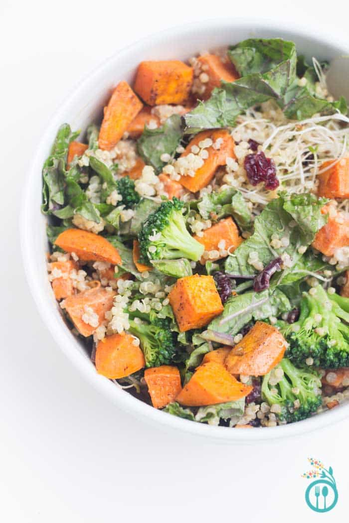 Autumn Quinoa Buddha Bowl Recipe drizzled with pomegranate dressing