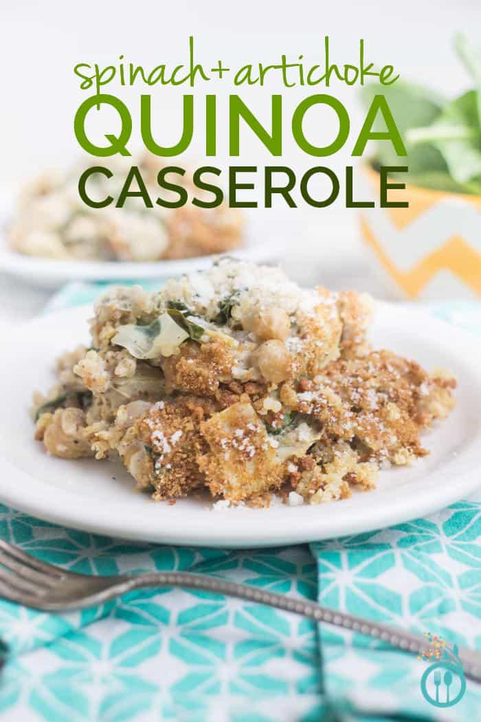 Spinach-Artichoke Quinoa Casserole made with a creamy cashew sauce