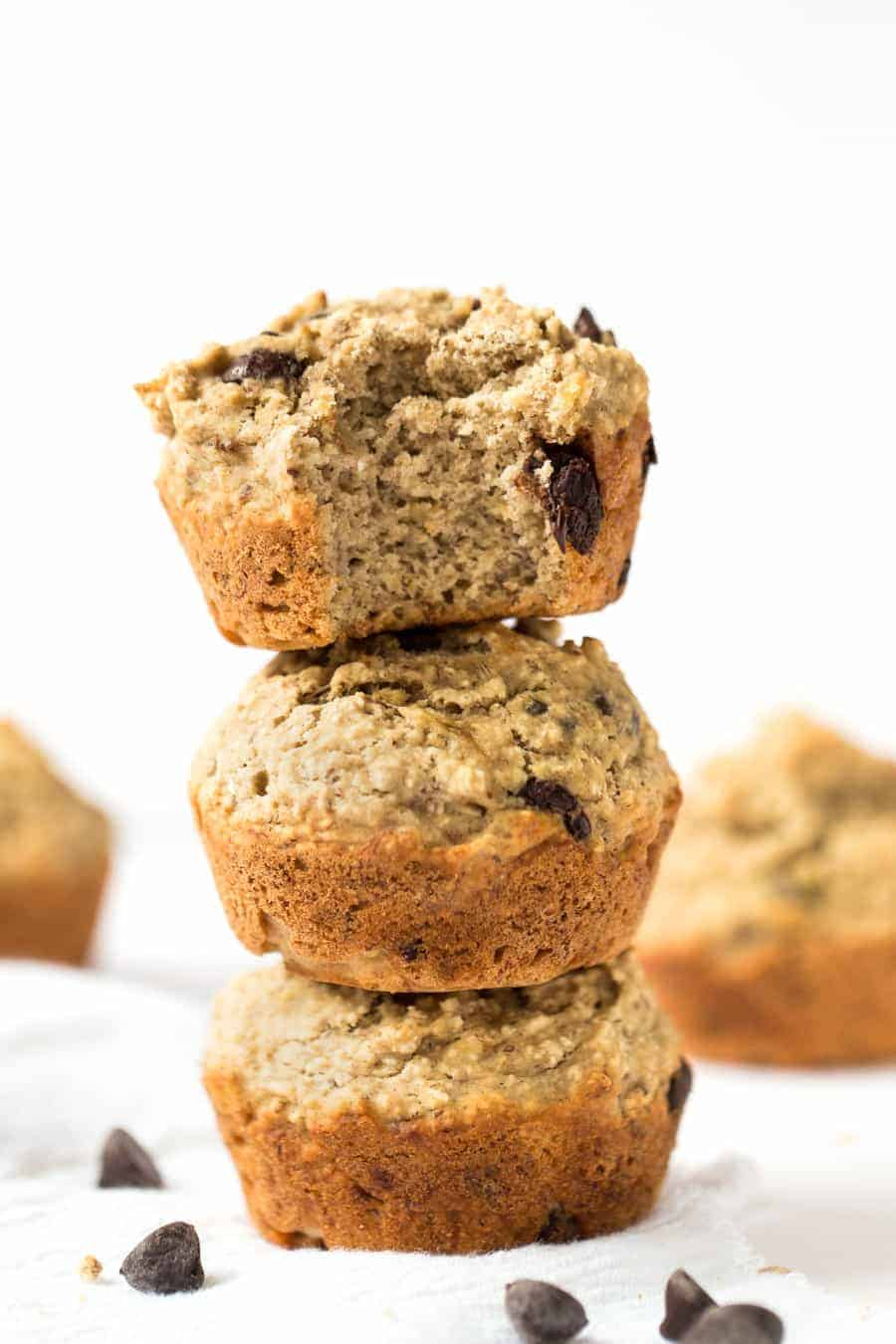 These SKINNY Banana Chocolate Chip Quinoa Muffins are made with wholesome ingredients, sweetened naturally and taste AMAZING!