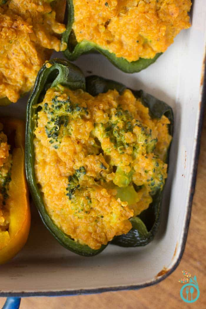 Quinoa Stuffed Peppers with Broccoli & Cheese