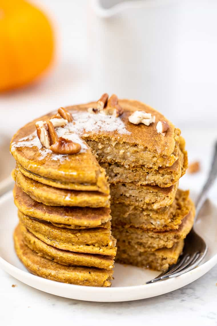 Stack of Healthy Pumpkin Pancakes
