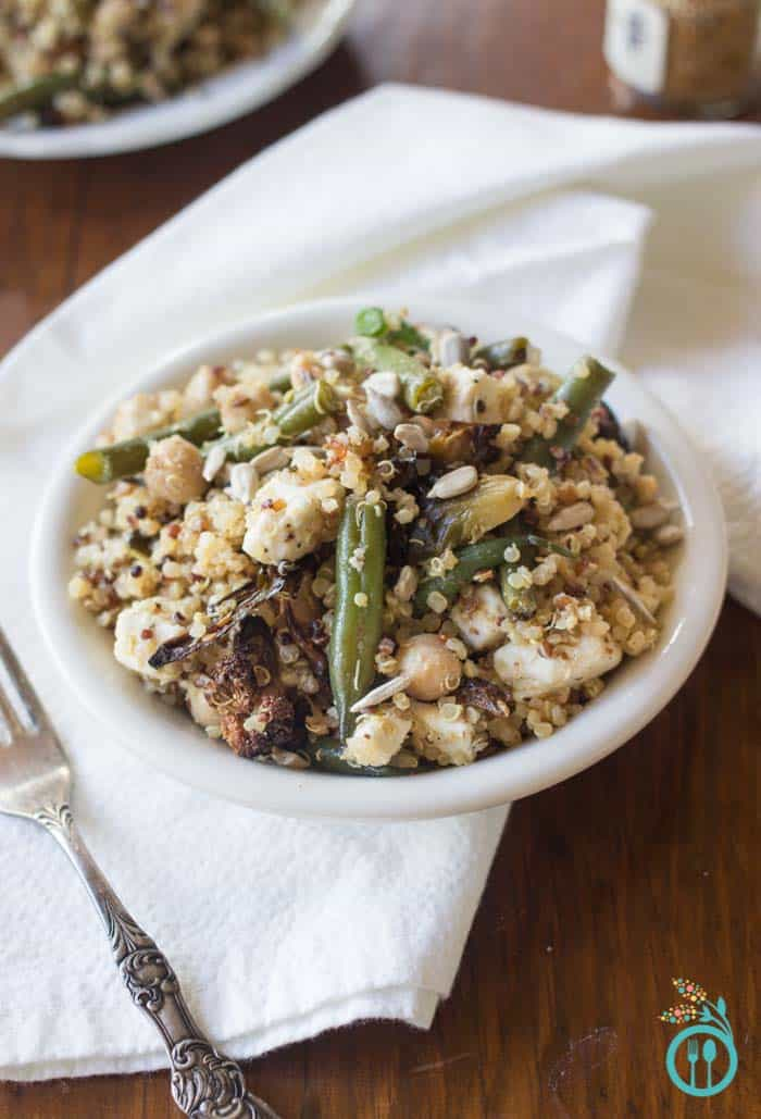 Healthy Thanksgiving Quinoa Salad Recipe with Roasted Veggies and a Toasted Spice Vinaigrette