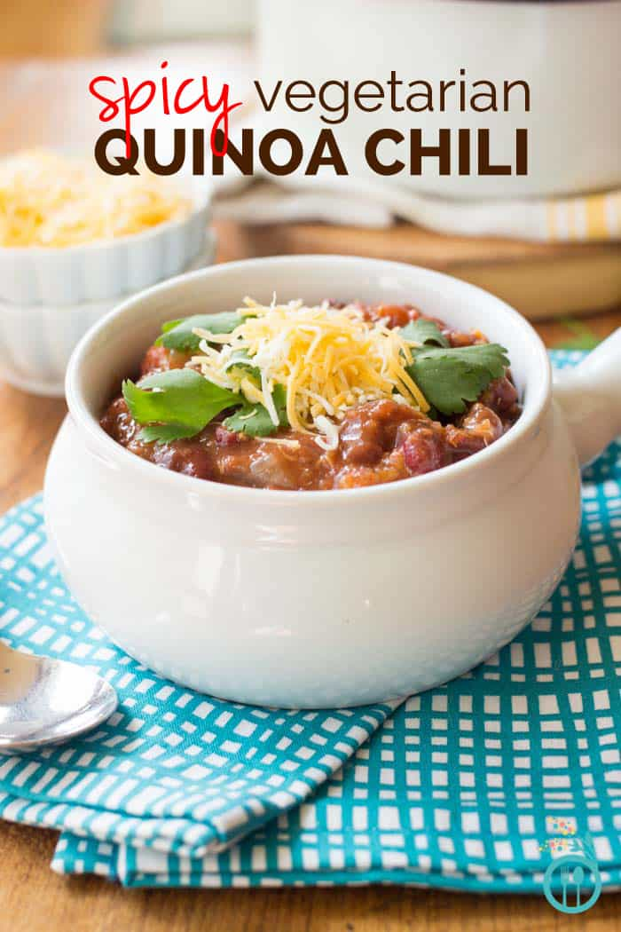 Spicy Vegetarian Quinoa Chili made in the CROCKPOT!