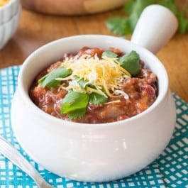 Spicy Vegetarian Quinoa Chili made in a slow cooker!