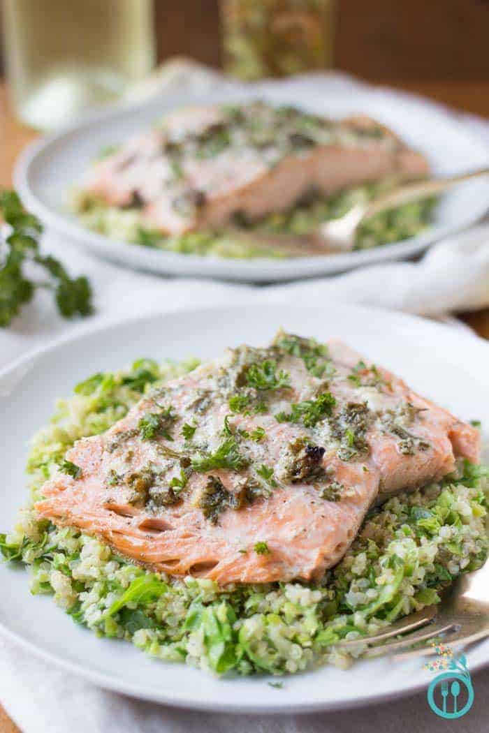 Roasted Garlic Salmon with Brussel Sprout Quinoa Salad - for a healthier start to your holiday feasting