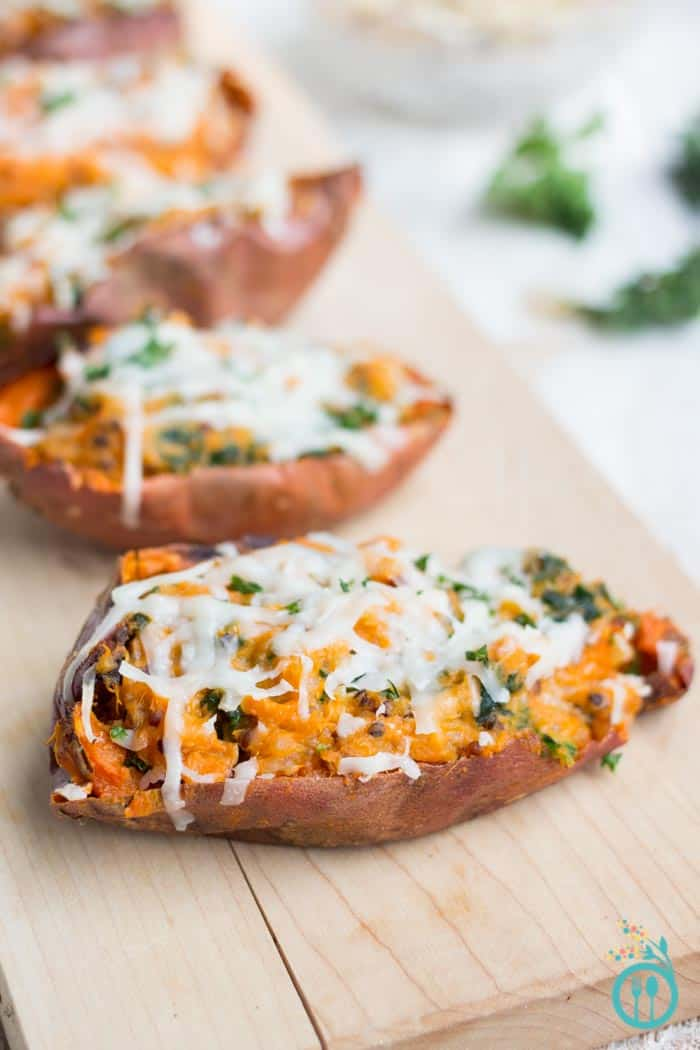Healthy Loaded Sweet Potato Skins stuffed with kale, quinoa and covered in shredded goat cheese! [vegetarian + gluten-free]