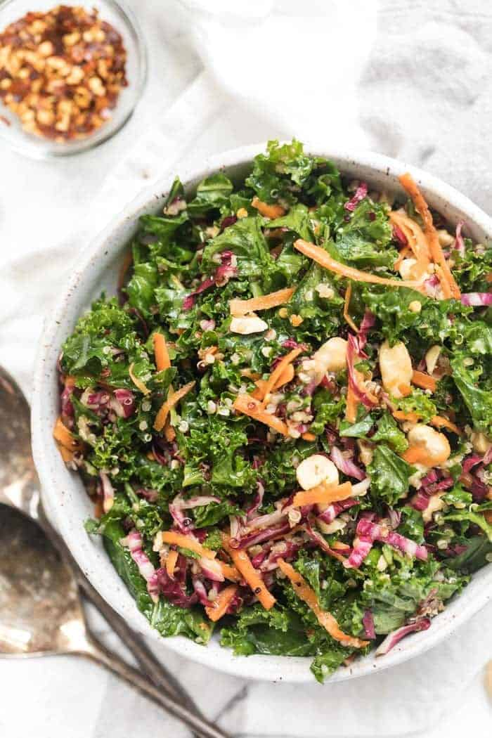 Quinoa Kale Salad with Asian-inspired Dressing