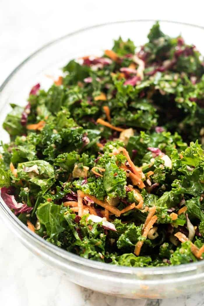 Simple Kale Salad with Asian Dressing