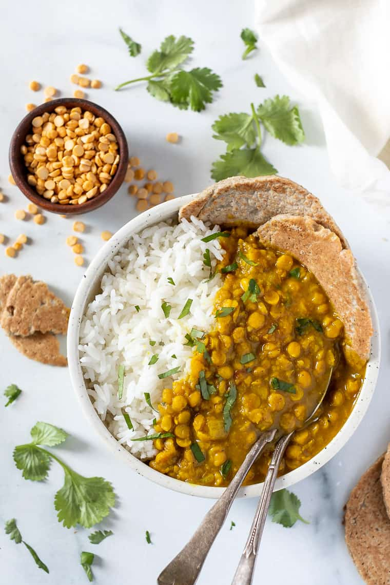 recipe for chana dal with rice and quinoa flatbreads