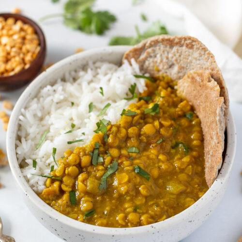 chana dal recipe with white rice and quinoa flatbreads