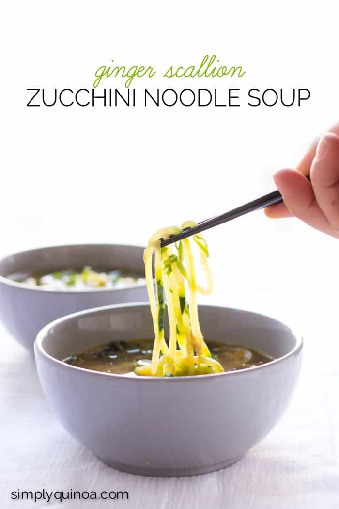 Ginger Scallion Zucchini Noodle Soup - healthy, vegetarian + paleo!