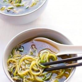 Ginger Scallion Zucchini Noodle Soup - healthy, vegan + paleo!