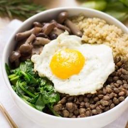 Warm Lentil + Mushroom Quinoa Bowls