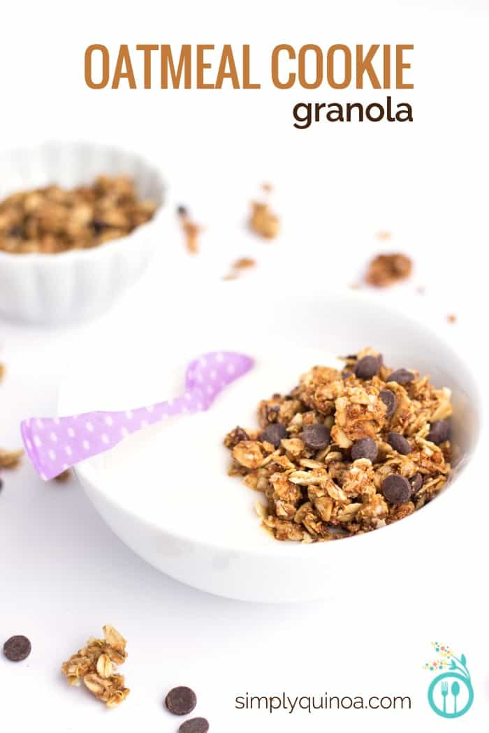 Oatmeal Cookie Quinoa Granola - spice up your breakfast with some chocolate chips
