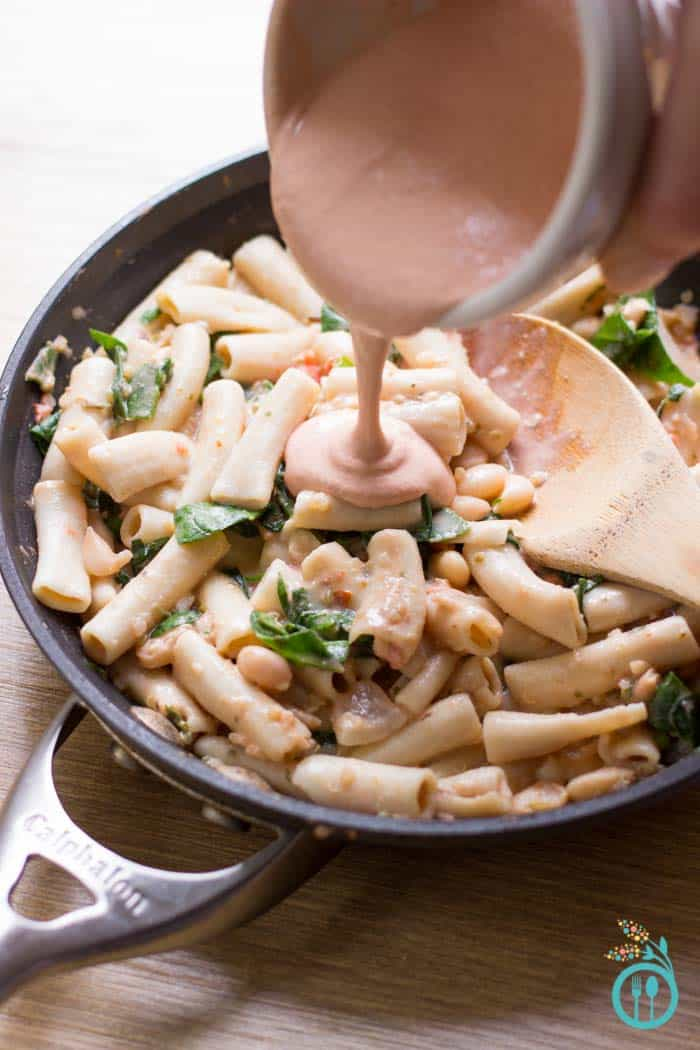 Rustic Tuscan White Bean Pasta made with a dreamy tomato-cream sauce