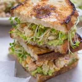 Smashed Chickpea Salad with Vegan Caesar Dressing
