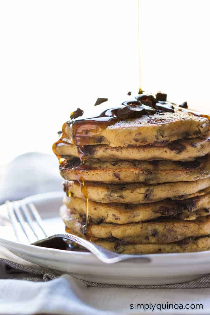 Chocolate Chunk Superfood Pancakes (gluten-free + vegan)