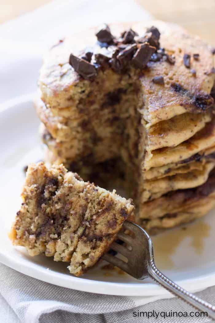 Superfood Chocolate Quinoa Pancakes (gluten-free + vegan)