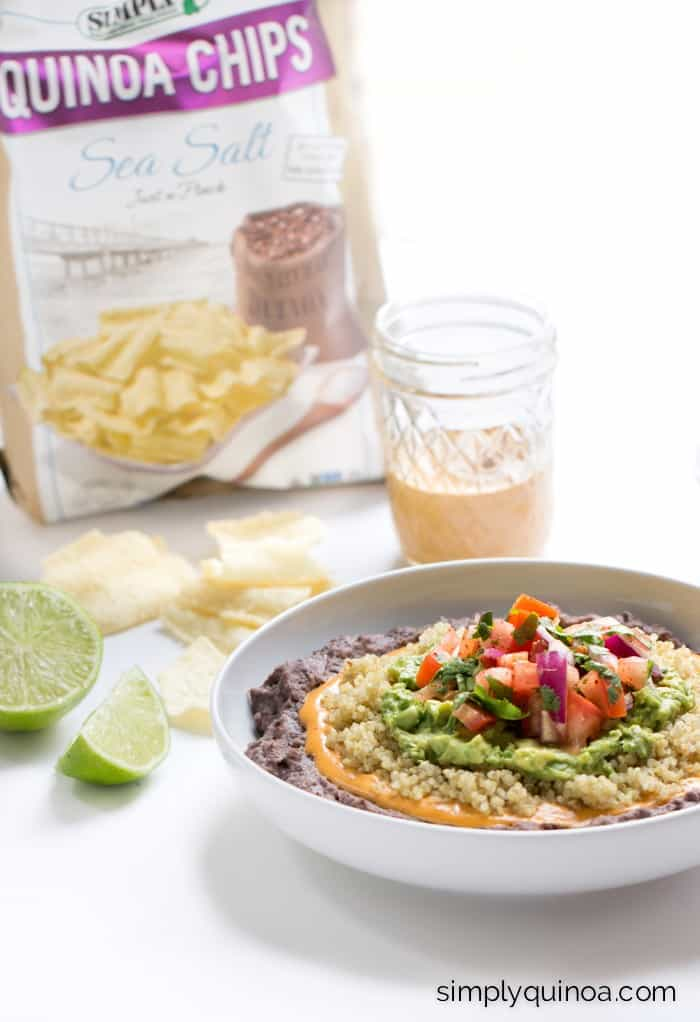 Clean Eating Refried Bean Dip made with five layers of healthy ingredients and 100% gluten-free + vegan too!