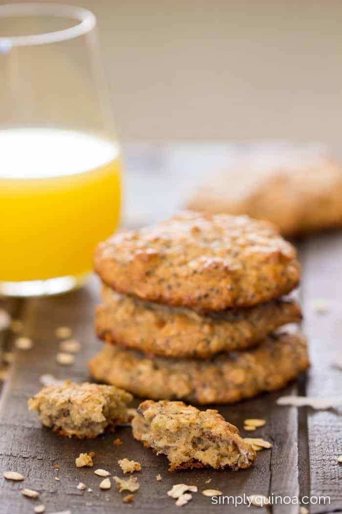 Toasted Coconut Quinoa Breakfast Cookies