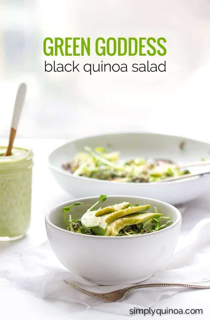 Green Goddess Black Quinoa Salad with a creamy vegan dressing