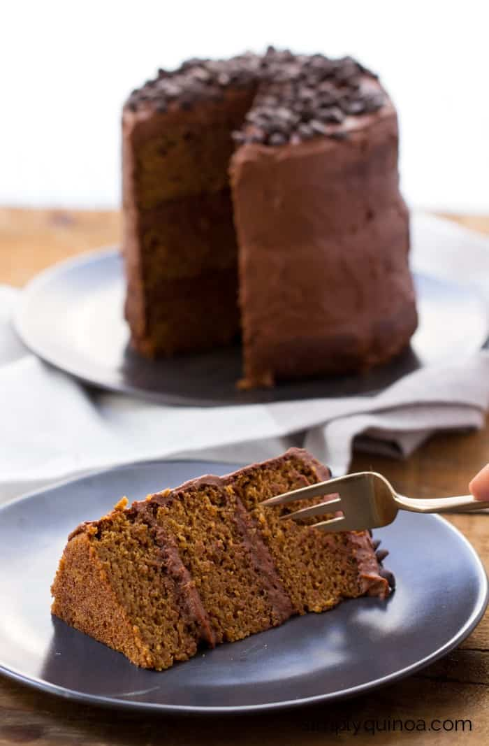 Gluten-Free Vanilla Quinoa Cake made with a super healthy vegan chocolate frosting