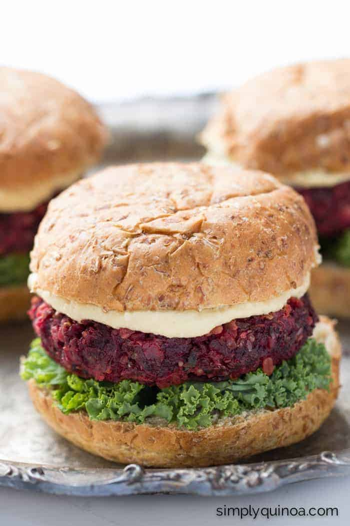 Beet + Quinoa Veggie Burgers - these tasty burgers are packed with veggies and won't fall apart on you!