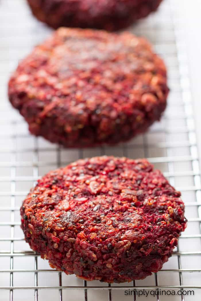 These Beet + Quinoa Veggie Burgers are just plain AWESOME - they're super healthy, gluten-free and vegan too!