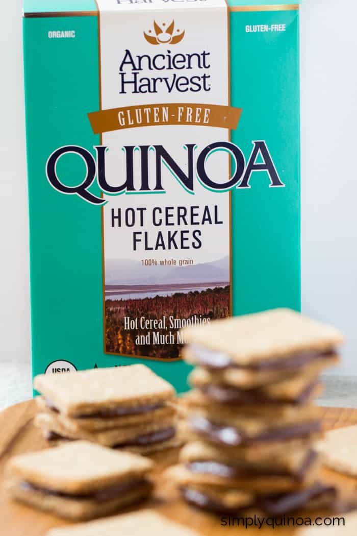 Ancient Harvest Quinoa Flakes are used to make these ultra decadent peanut butter quinoa cracker + nutella sandwiches!