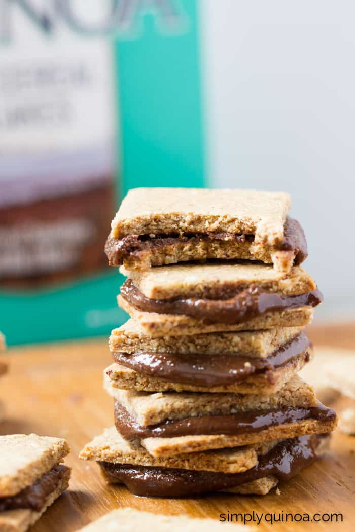 The PERFECT snack: peanut butter quinoa crackers with homemade nutella [gluten-free]