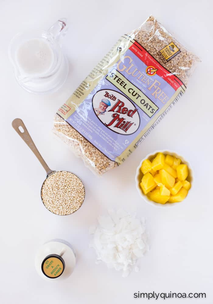 Creamy Coconut Steel Cut Oats + Quinoa with Mango - a healthy, delicious and tropical flavored breakfast treat!