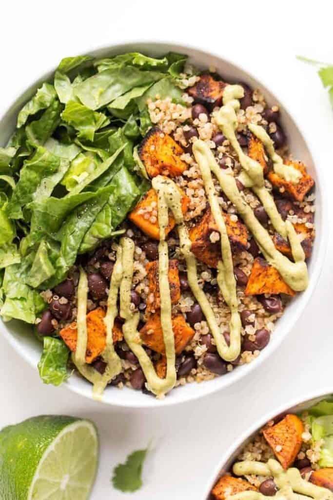 chili roasted sweet potato and black bean quinoa salad