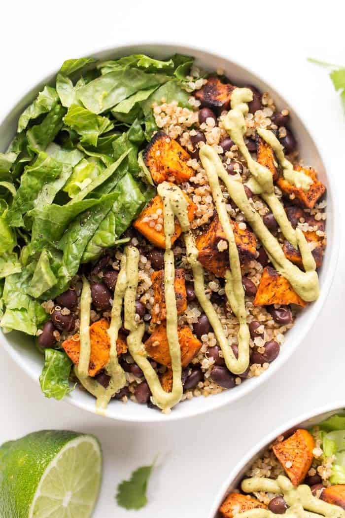 chili roasted sweet potato and black bean quinoa salad