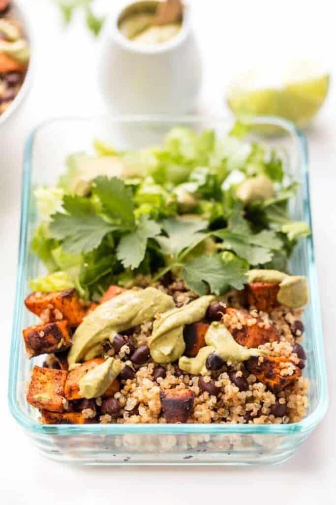 meal prep chili roasted sweet potato and black bean quinoa salad