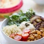 Mediterranean Quinoa Hummus Bowls using classic hummus, grilled eggplant, crispy chickpeas and a quick arugula salad!