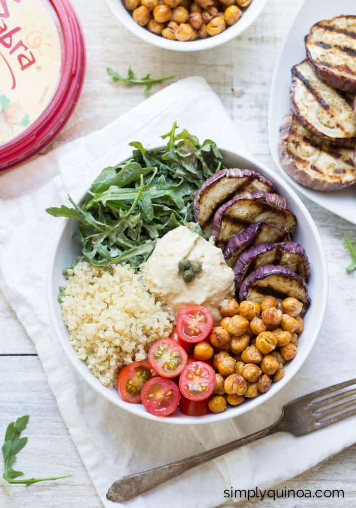 Mediterranean Quinoa Hummus Bowls - quick, easy and delicious! [gluten-free + vegan]