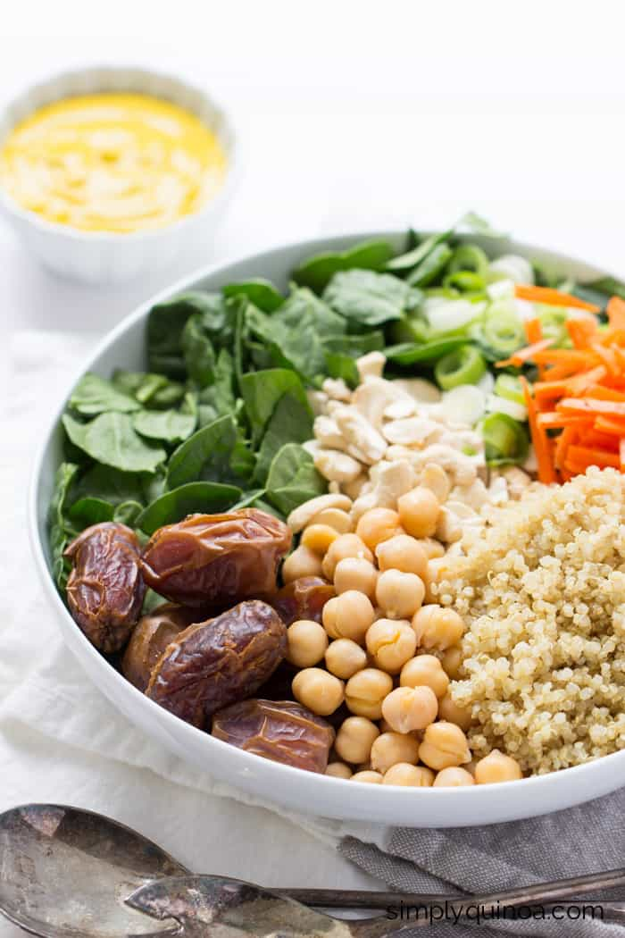 Moroccan Quinoa Salad with a Spicy Turmeric-Tahini Dressing
