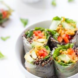 Quinoa Summer Rolls with a spicy Thai Peanut Sauce [gluten-free + vegan]