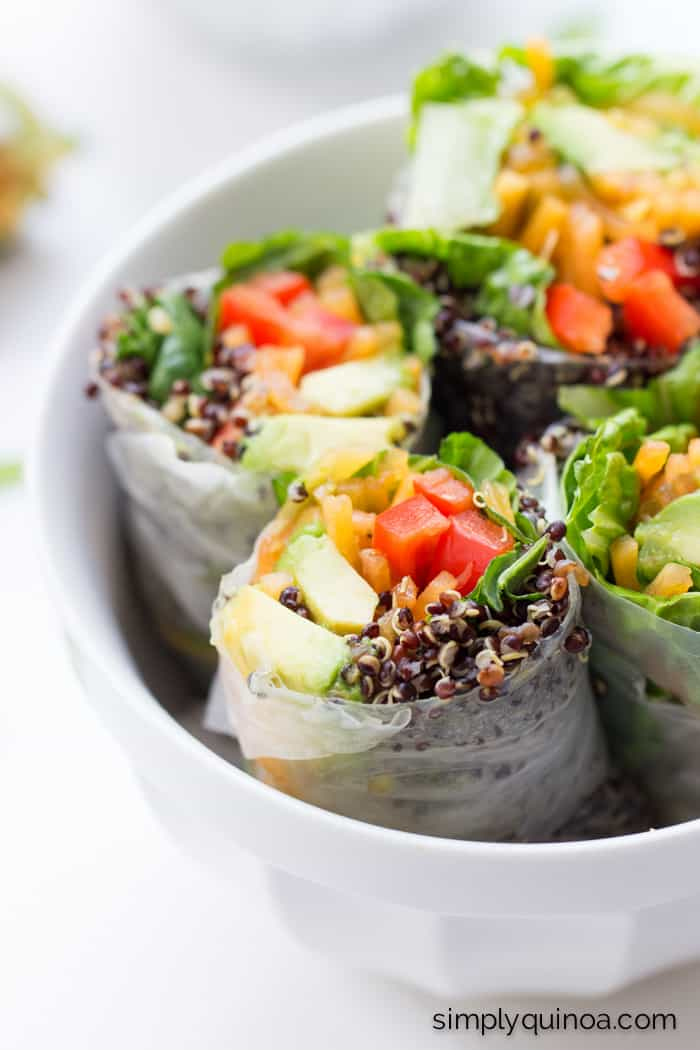 Quinoa Summer Rolls // these are a healthy and delicious meal that can be made in only minutes!