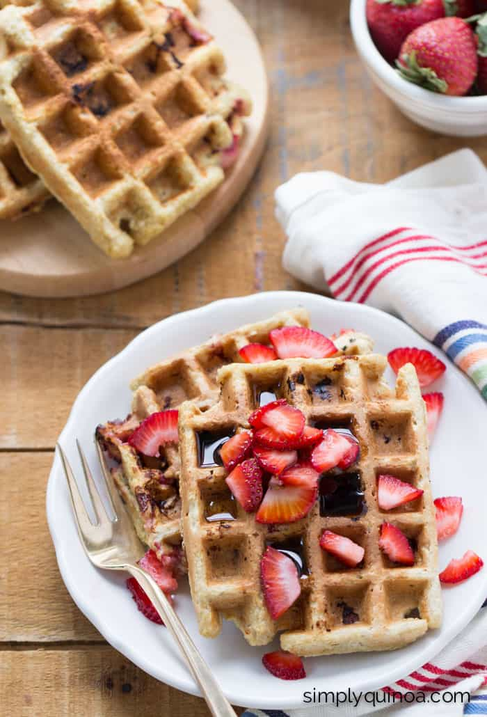 Strawberry Banana Quinoa Waffles - a healthy breakfast perfect for a special occasion! [gluten-free]
