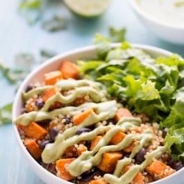 Chili Roasted Sweet Potato + Black Bean Quinoa Salad