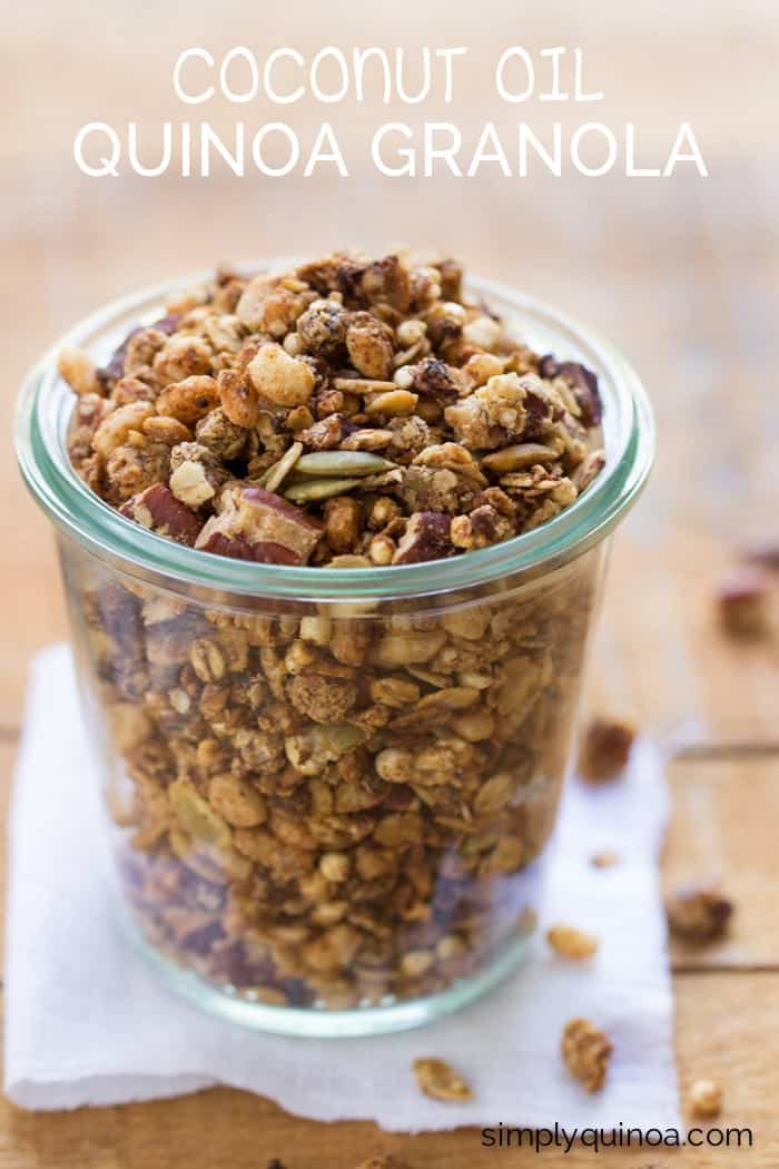 Vegan Coconut Oil Quinoa Granola made with a blend of oats and quinoa flakes, nuts and seeds, and sweetened with maple syrup