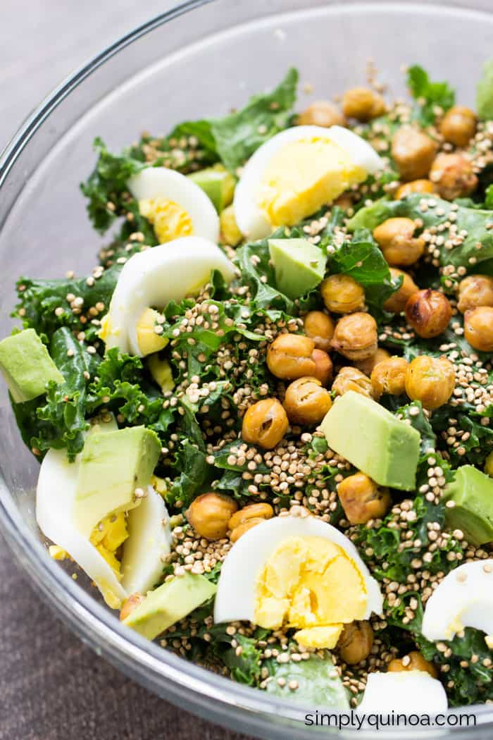 My favorite kale salad in the world....with crispy chickpeas, toasted quinoa and a lemon-tahini dressing!