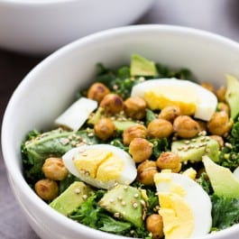 Totally Addicting Vegetarian Kale Salad with crispy chickpeas, hard boiled eggs and toasted quinoa