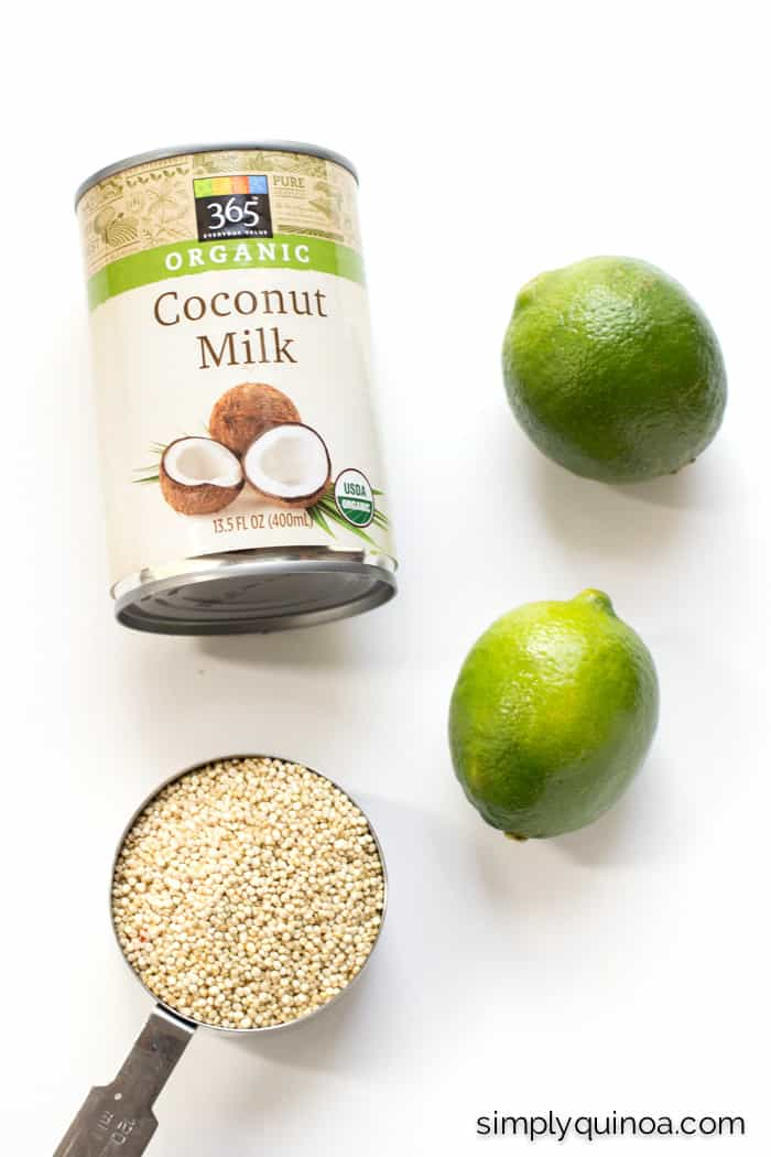 Three ingredients are used for this coconut lime quinoa: coconut milk, quinoa + lime!
