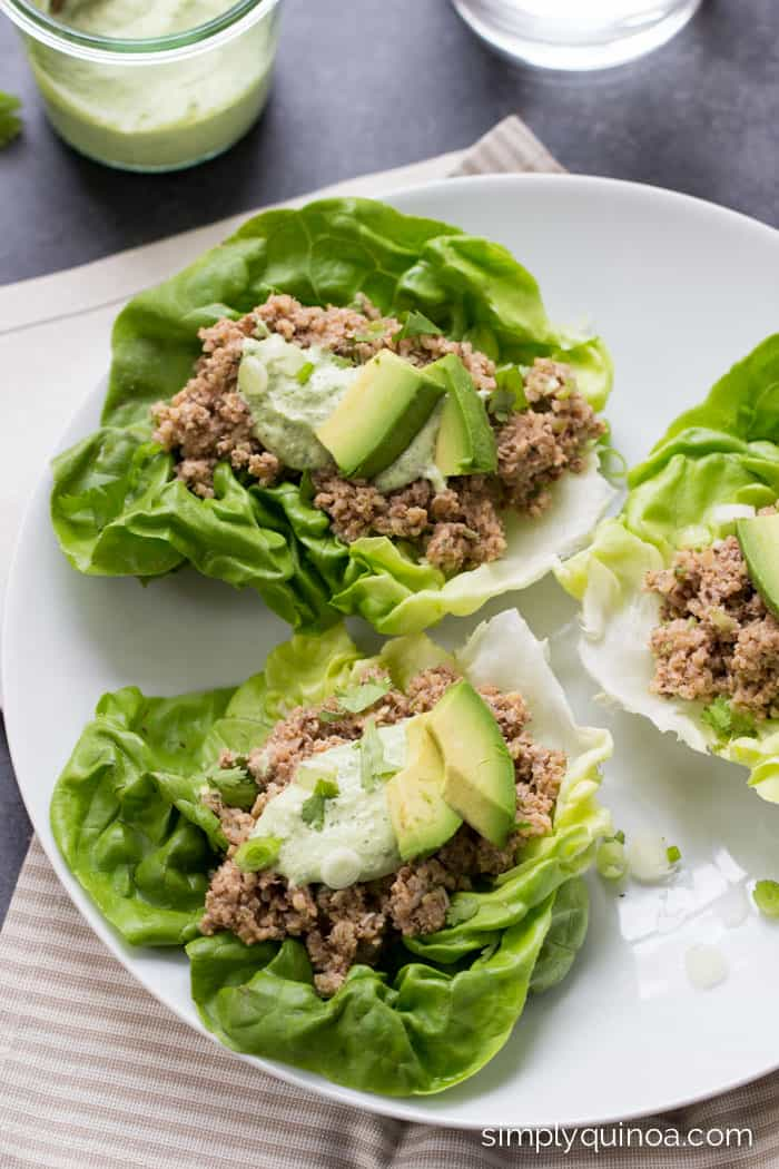 These mushroom + quinoa lettuce wraps take only 10 minutes to make and are a healthy and delicious summertime meal!