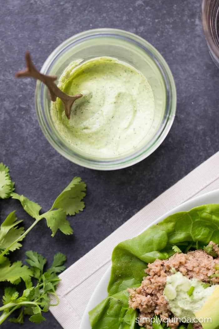 CREAMY CASHEW-LIME SAUCE served with these healthy mushroom + quinoa lettuce wraps | simplyquinoa.com