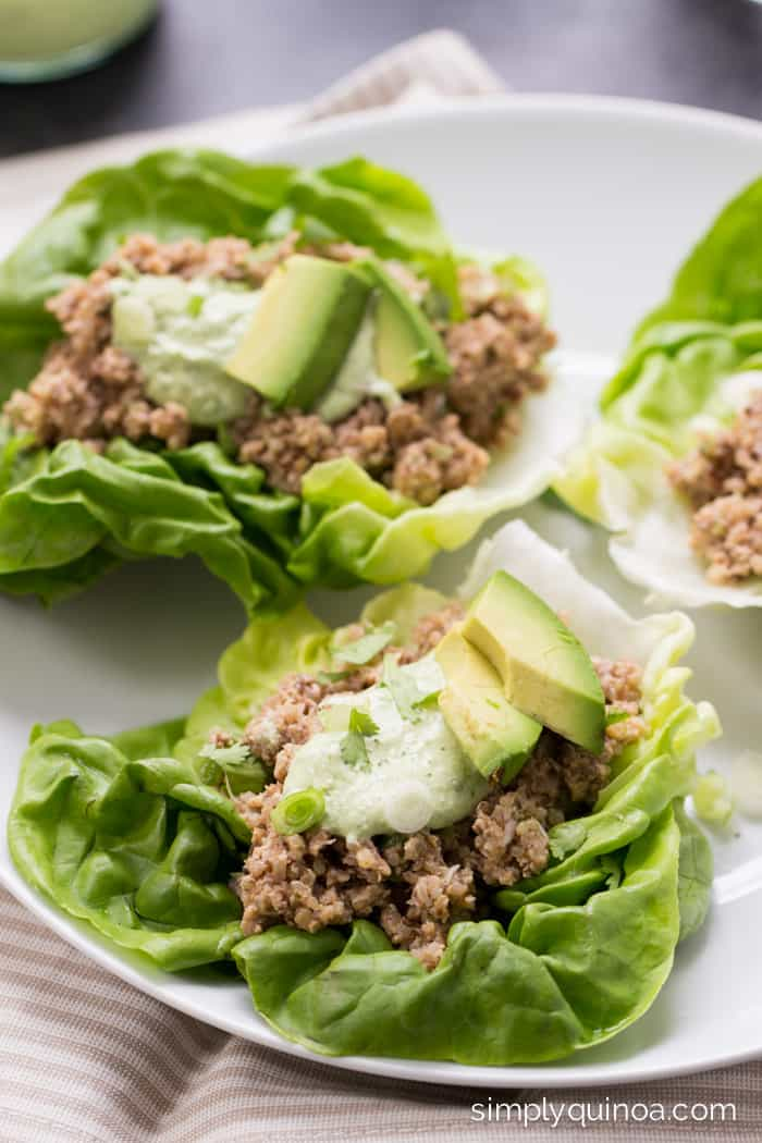 Tangy Mushroom + Quinoa Lettuce Wraps // a healthy and delicious meal that doesn't require the use of your oven or stove! [gluten-free + vegan]