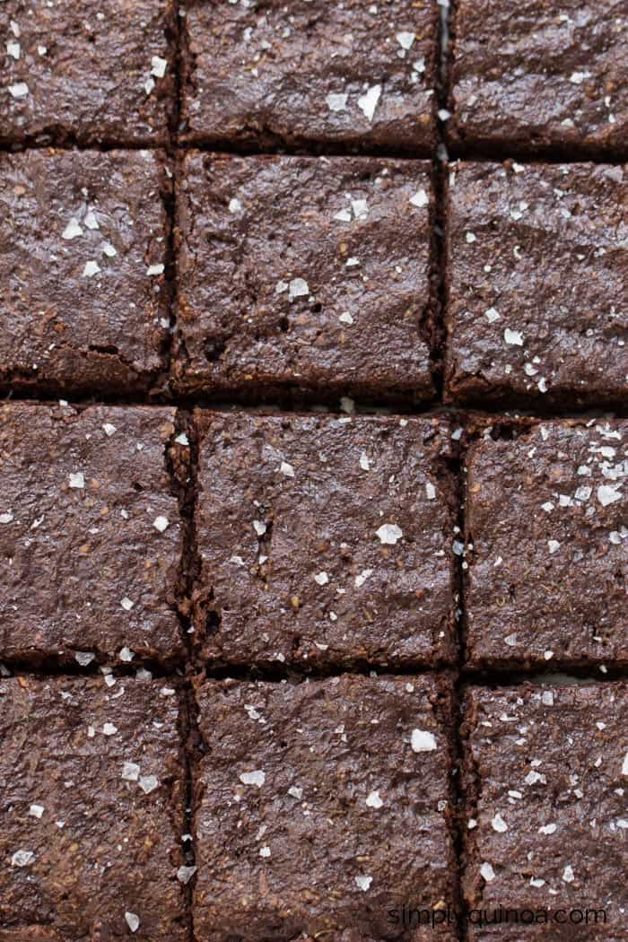 Ultra Fudgy Salted Quinoa Brownies made with coconut sugar and avocado!